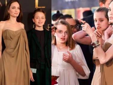 Angelina Jolie muestra su lado más elegante con maxi vestido asimétrico negro