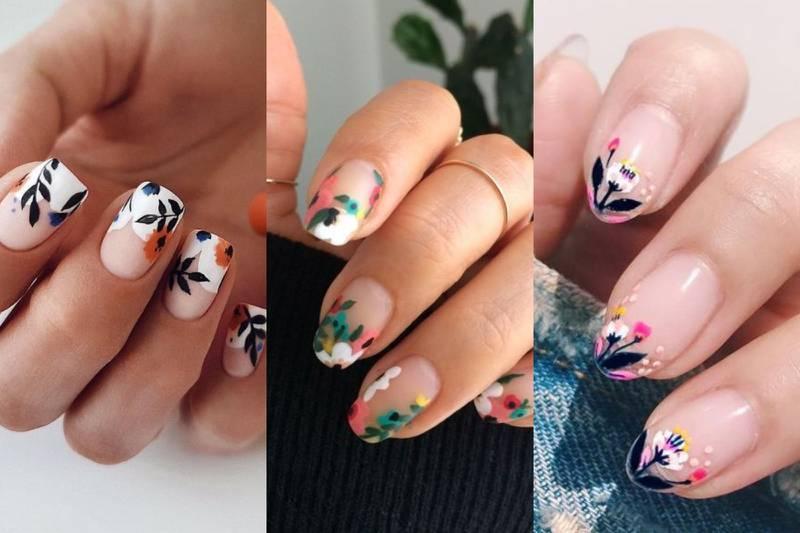 diseños de uñas francesas con flores